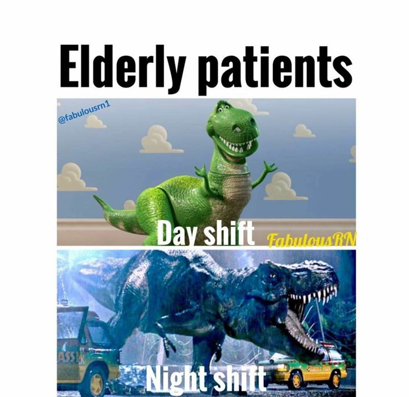 meme - Dinosaur - Elderly patients @fabulousrn1 Day shift abulausN ASSEX *Night shift