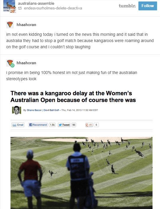 screenshot of news article about kangaroos on golf course