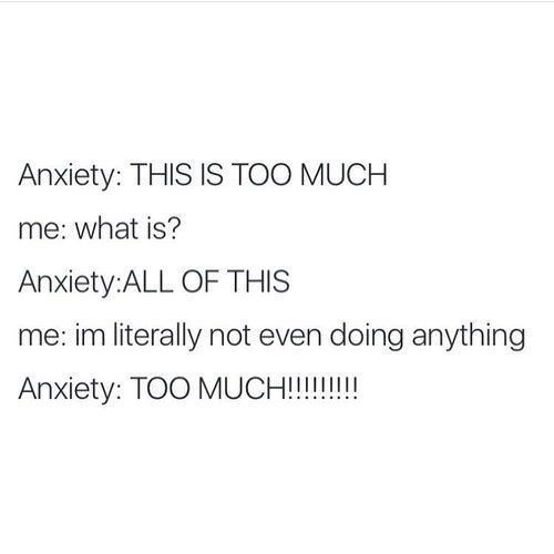 meme - Text - Anxiety: THIS IS TOO MUCH me: what is? Anxiety:ALL OF THIS me: im literally not even doing anything Anxiety: TOO MUCH!!!!!!