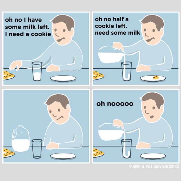 Comic about eating cookies and milk