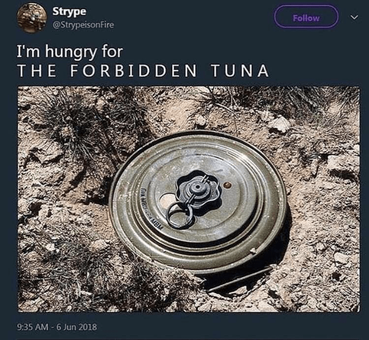 Funny meme about forbidden tuna, landmine, funny landmine.