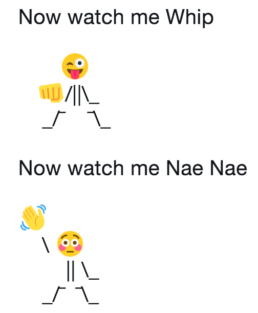 Emoji person doing the Whip and Nae Nae dance