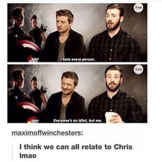 Facial expression - Thate every person tvn Everyone's an Idlot, but me. maximoffwinchesters: I think we can all relate to Chris Imao