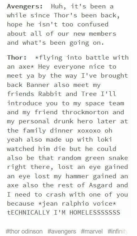 Text - Avengers: Huh, it's been a while since Thor's been back, hope he isn't too confused about all of our new members and what's been going on Thor flying into battle with an axe* Hey everyone nice to meet ya by the way I've brought back Banner also meet my friends Rabbit and Tree I'll introduce you to my space team and my friend throckmorton and my personal drunk hero later at the family dinner xoxoxo oh yeah also made up with loki watched him die but he could also be that random green snake