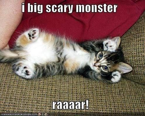 kitten meme - Cat - i big scary monster raaaar! ICANHASCHEE2BURGER coM