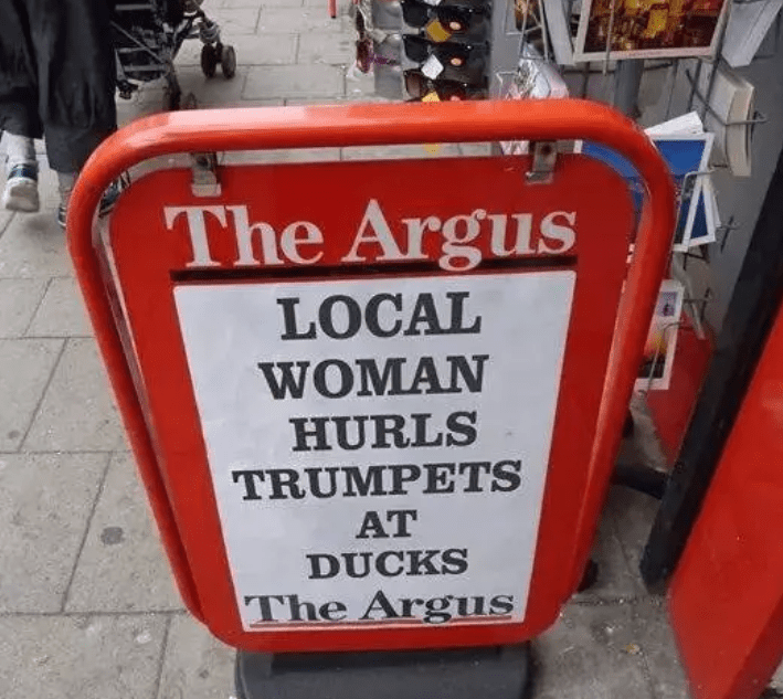 Sign - The Argus LOCAL WOMAN HURLS TRUMPETS AT DUCKS The Argus