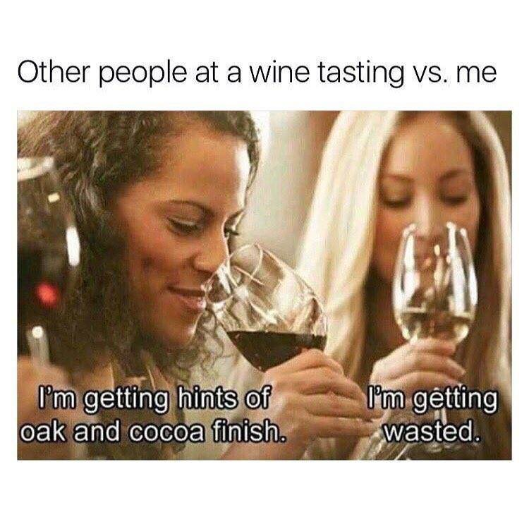 Text - Other people at a wine tasting vs. me I'm getting wasted. I'm getting hints of oak and cocoa finish.
