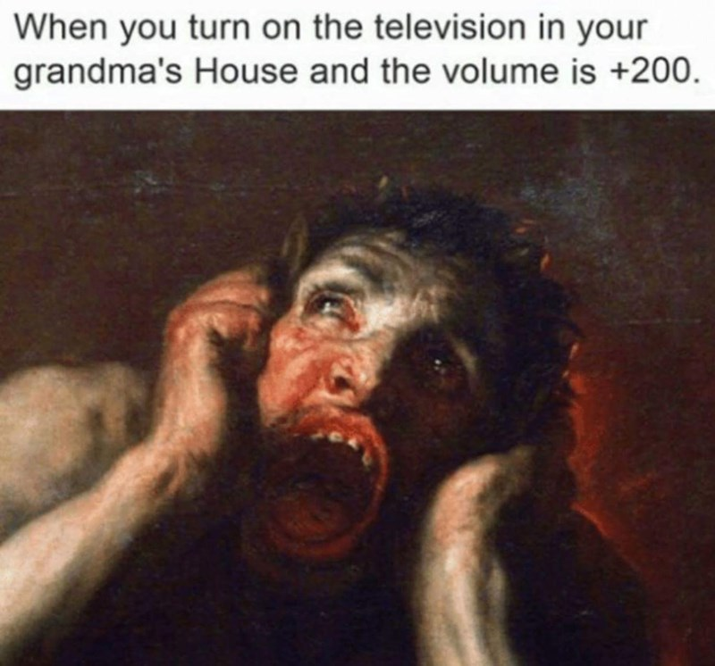 Human - When you turn on the television in your grandma's House and the volume is +200