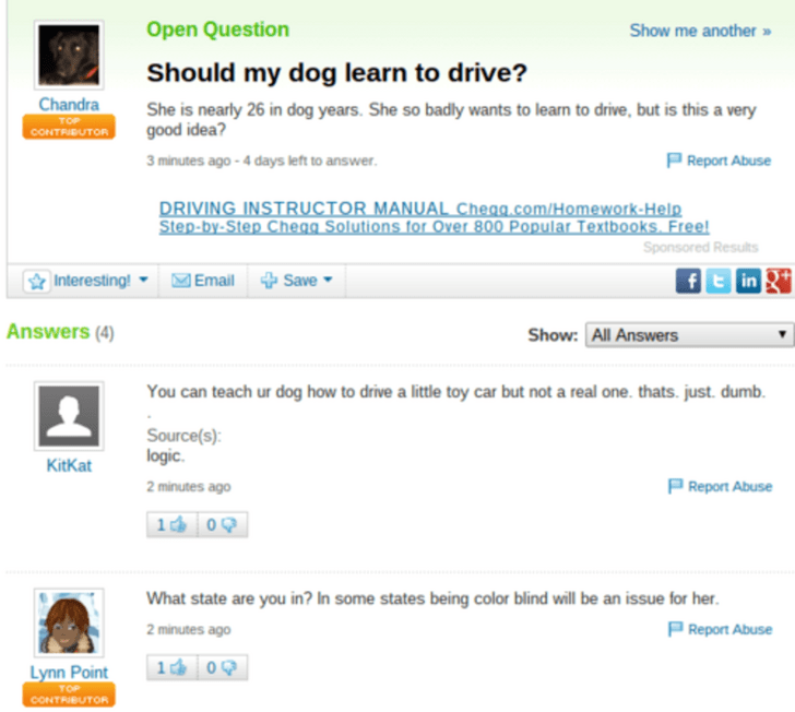 yahoo answers - Text - Open Question Show me another » Should my dog learn to drive? Chandra CONTRBUTOR She is nearly 26 in dog years. She so badly wants to learn to drive, but is this a very good idea? 3 minutes ago -4 days left to answer P Report Abuse DRIVING INSTRUCTOR MANUAL Chegg.com/Homework-Help Step-by-Step Chegg Solutions for Over 800 Popular Textbooks. Free Sponsored Results Interesting! - Email Save fin Answers (4) Show: All Answers You can teach ur dog how to drive a little toy car