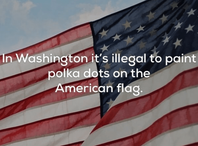 Flag - In Washington it's illegal to paint polka dots on the American flag