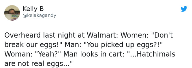 """Text - Kelly B @kelakagandy Overheard last night at Walmart: Women: """"Don't break our eggs!"""" Man: """"You picked up eggs?!"""" Woman: """"Yeah?"""" Man looks in cart: """"...Hatchimals are not real eggs..."""""""