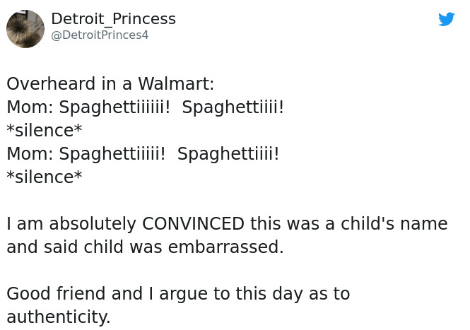 Text - Detroit_Princess @DetroitPrinces4 Overheard in a Walmart: Mom: Spaghettiii Spaghetti! *silence* Mom: Spaghettiii! Spaghettii! *silence* I am absolutely CONVINCED this was a child's name and said child was embarrassed Good friend and I argue to this day as to authenticity.