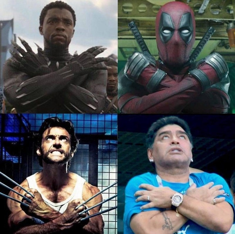 Panel images comparing three marvel characters with arms crossed over their chests to Maradona doing the same