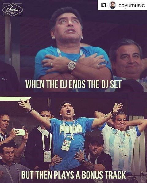 "Caption reads, ""When the DJ ends the DJ set"" with a photo of Maradona with his arms crossed. Second image is of him yelling with his arms spread out with the caption, ""But then plays a bonus track"""