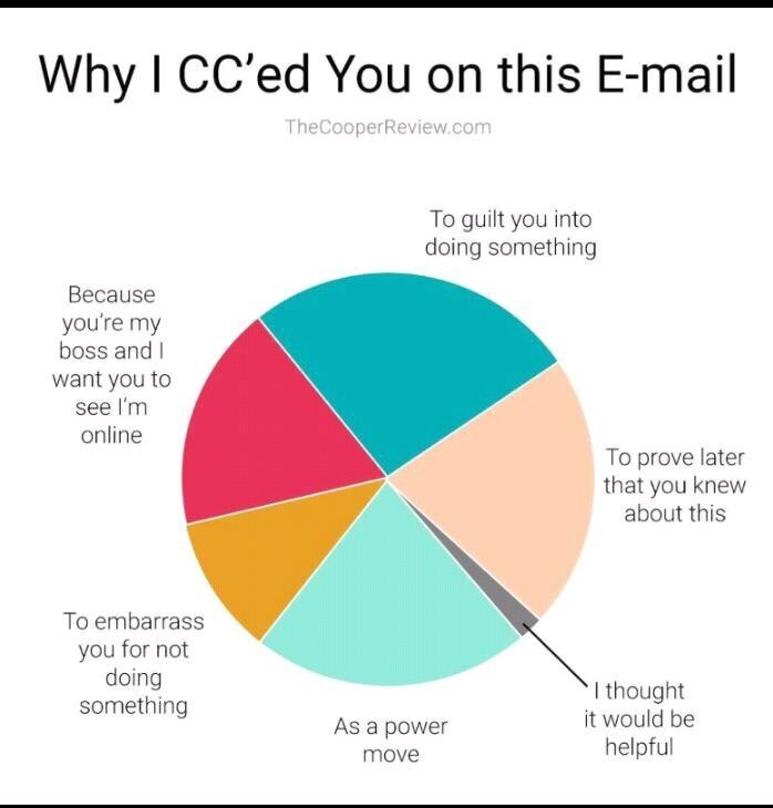 Pie chart of reasons why people actually send emails with their boss CC'd