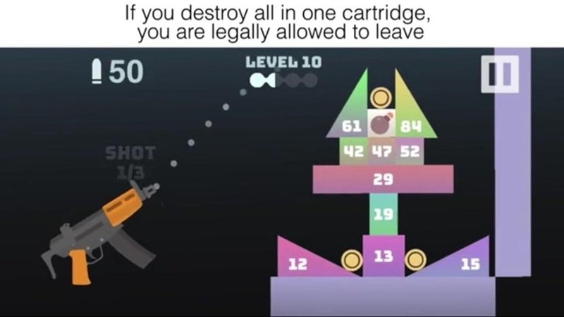 Text - If you destroy all in one cartridge, you are legally allowed to leave LEVEL 10 50 61 84 42 47 52 SHOT 29 19 13 15 12