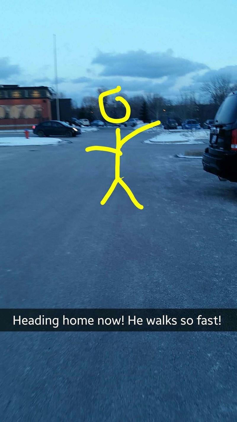 Asphalt - Heading home now! He walks so fast!