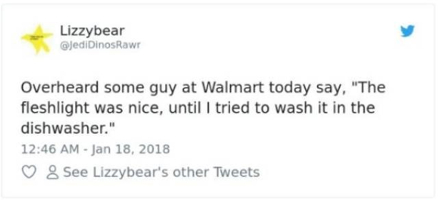 "Text - Lizzybear JediDinosRawr Overheard some guy at Walmart today say, ""The fleshlight was nice, until I tried to wash it in the dishwasher."" 12:46 AM -Jan 18, 2018 See Lizzybear's other Tweets"