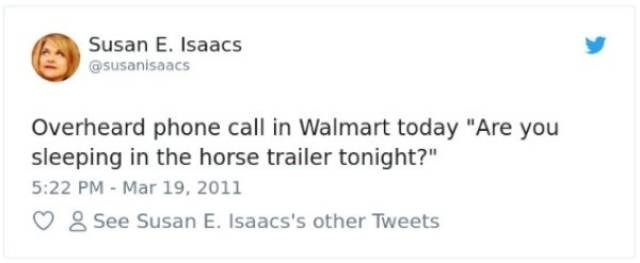 "Text - Susan E. Isaacs @susanisaacs Overheard phone call in Walmart today ""Are you sleeping in the horse trailer tonight?"" 5:22 PM - Mar 19, 2011 See Susan E. Isaacs's other Tweets"