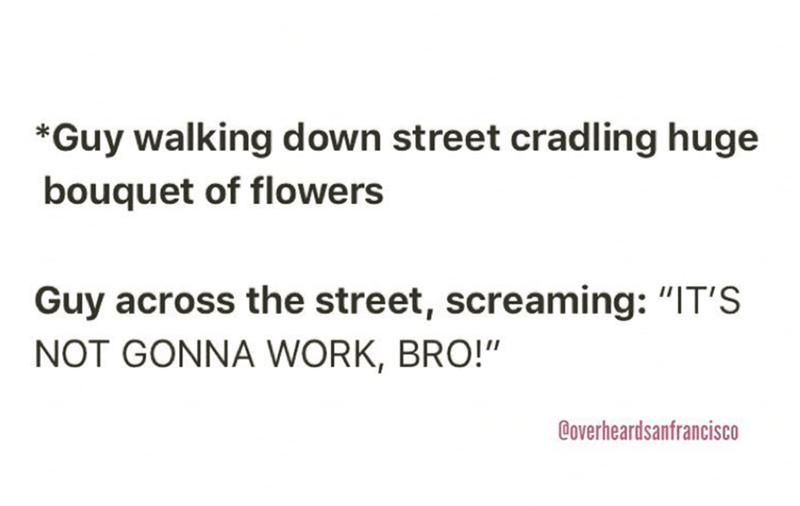 "Text - *Guy walking d own street cradling huge bouquet of flowers Guy across the street, screaming: ""IT'S NOT GONNA WORK, BRO!"" Coverheardsanfrancisco"