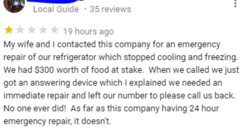 Customer leaves one star review because company won't fix his fridge during a hurricane evacuation, the owner leaves a good response.