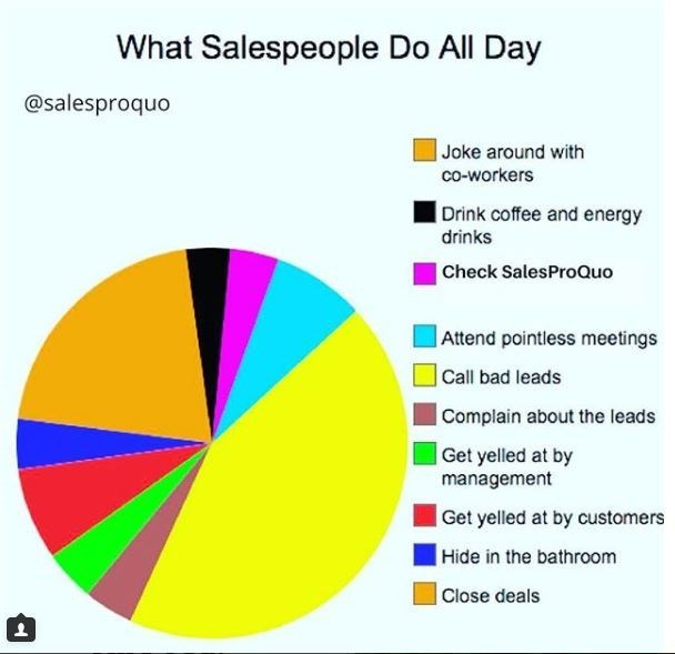 Pie chart about what salespeople do all day