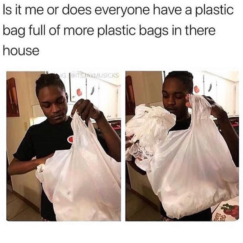 """Is it me or does everyone have have a plastic bag full of more plastic bags in there house"""