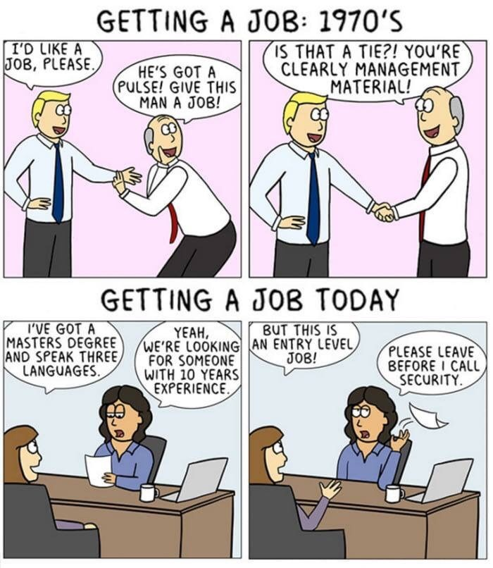 Comic about how easy it was to get a job in the 1970s versus how difficult it is today