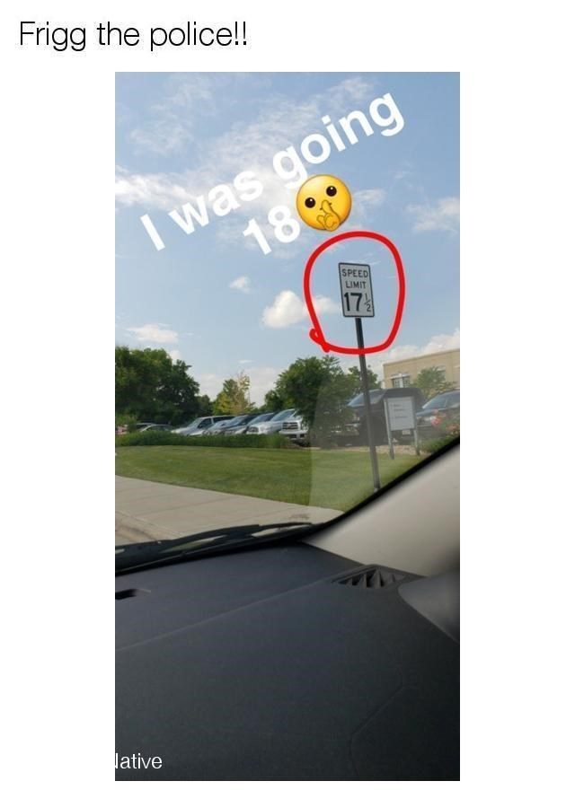 Pic of a speed limit sign that says 17.5 mph, person was going 18 mph