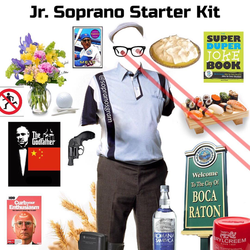 meme - Product - Jr. Soprano Starter Kit Soprano THE SUPER DUPER JOKE BOOK METS Jkes for Every Secasitn Jokes far Every Situation The Godfather RATOR Welcome To The City Of ВОСА НВо Curbyour Enthusiasm COMPLETE SEIT RATON OMAN ROMANA SAMBVCA SCRAM BRYLCREEM MA SINCE 192 erignat hairdresting @sopranosgram