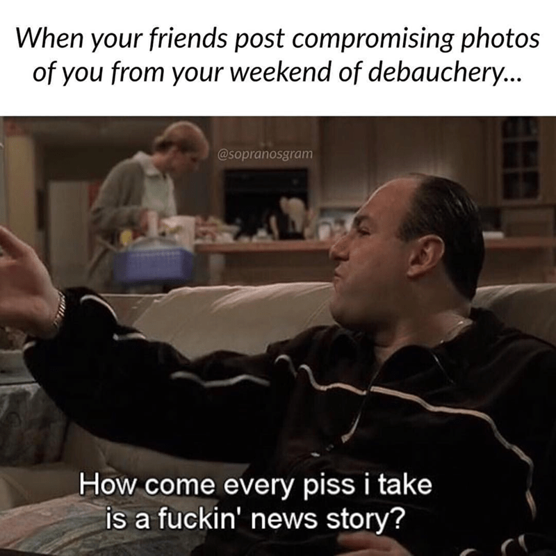 meme - Photo caption - When your friends post compromising photos of you from your weekend of debauchery... @sopranosgram How come every piss i take is a fuckin' news story?