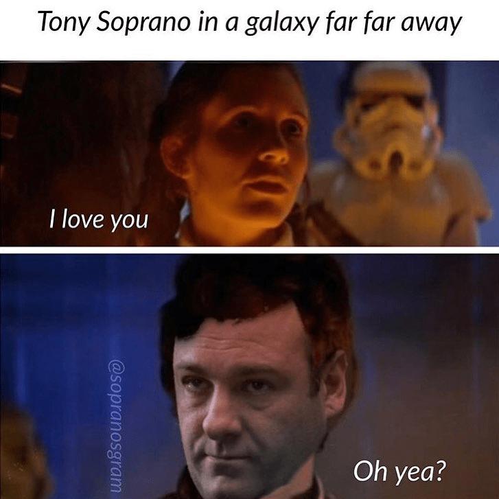 meme - Facial expression - Tony Soprano in a galaxy far far away I love you Oh yea? @sopranosgram