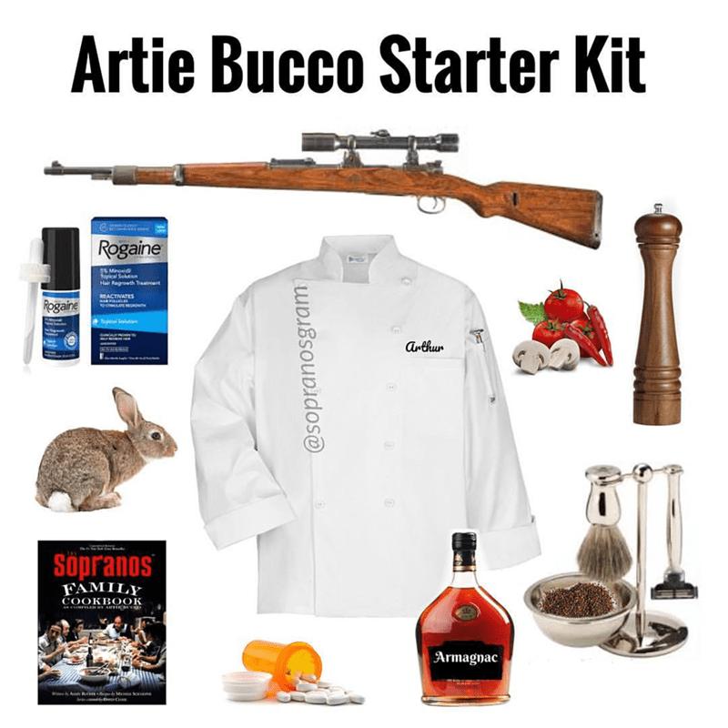 meme - Gun - Artie Bucco Starter Kit Rogaine thocal Solt Hair Ragrowth Treatmant REACTIVATES Rogaine OSTLAE a TenlSahe arthun Sopranos FAMILY COOKBOOK Armagnac @sopranosgram