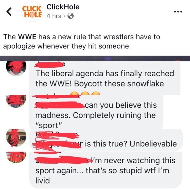 "Text - CLICK ClickHole HOLE 4 hrs The WWE has a new rule that wrestlers have to apologize whenever they hit someone. The liberal agenda has finally reached the WWE! Boycott these snowflake can you believe this madness. Completely ruining the ""sport"" is this true? Unbelievable m never watching this sport again... that's so stupid wtf I'm livid"