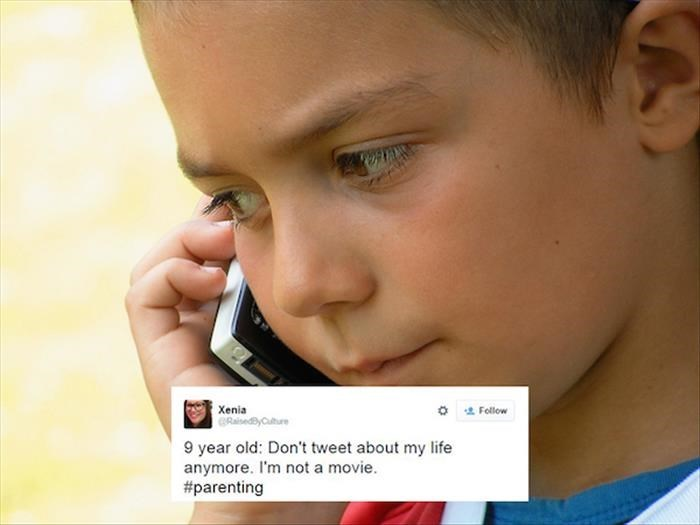 Face - Xenia RaisedyCuture Fellow 9 year old: Don't tweet about my life anymore. I'm not a movie. #parenting