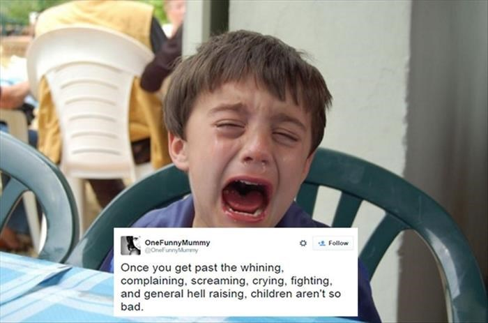 Facial expression - OneFunnyMummy Follow Once you get past the whining complaining, screaming, crying, fighting. and general hell raising, children aren't so bad.