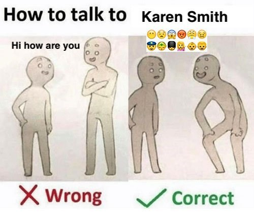 Text - How to talk to Karen Smith Hi how are you X Wrong Correct
