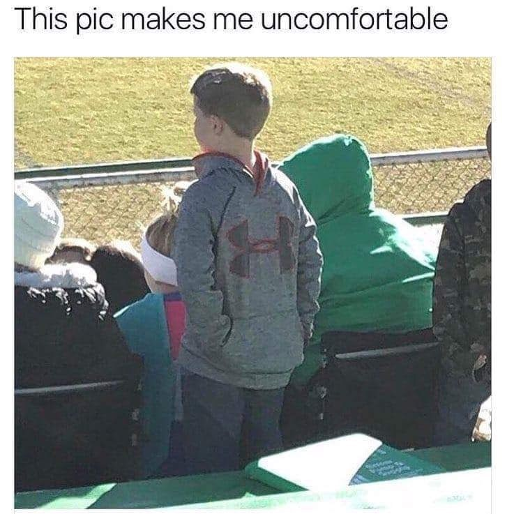 monday meme of a picture of child wearing hoodie backwards and putting his hands in the front pocket on his back