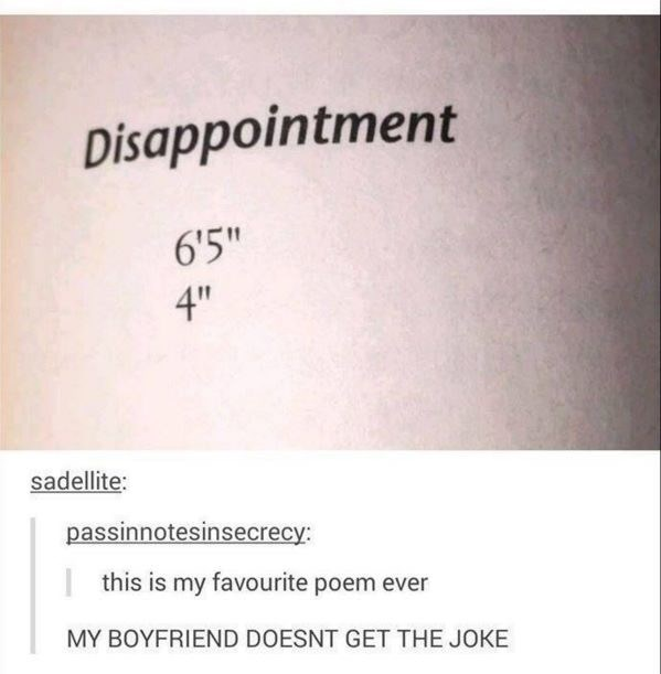 """monday meme of a poem called disappointment: """"6'5"""", 4"""""""""""