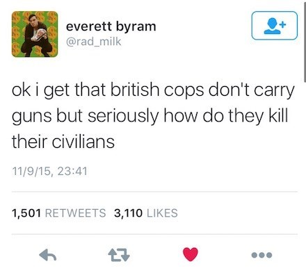 monday's satirical tweet calling attention to how widespread police brutality in America