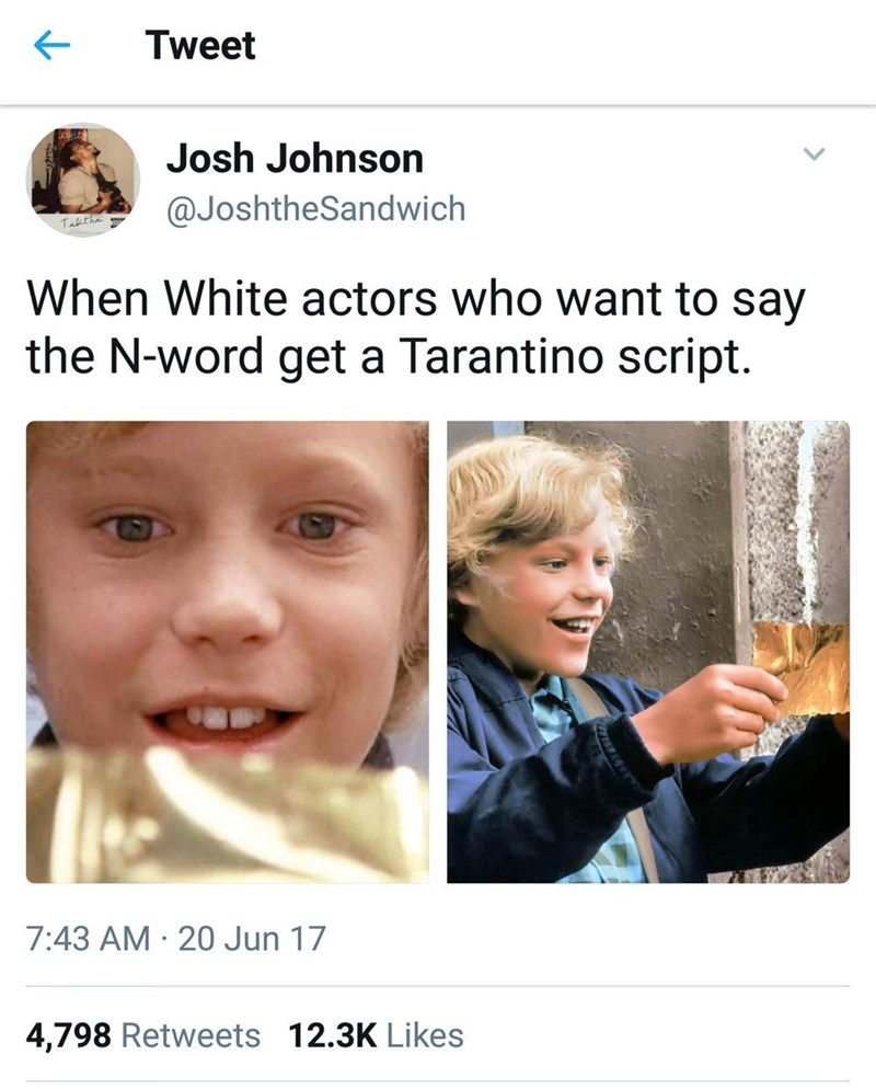 monday meme about actors using scripts as an excuse to use racial slurs with picture of Charlie winning the golden ticket