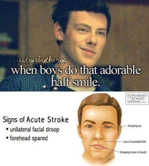 Monday meme of just girly things meme about being attracted to a preliminary sign of stroke