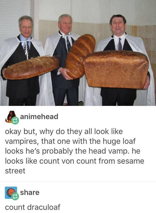 Tumblr thread with picture of three men in suits wearing white capes and holding giant loafs of bread