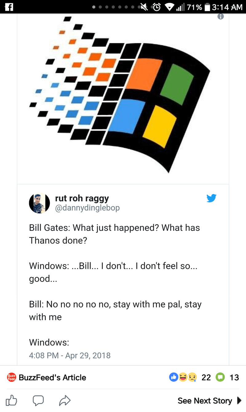 tweet about the old Windows logo looking like how characters died in Marvel's Infinity War