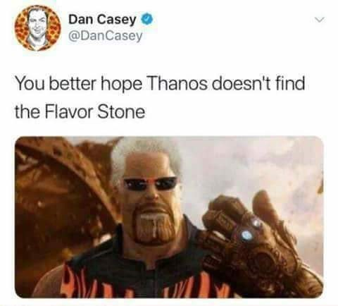 picture of Guy Fieri as Thanos looking for the flavor stone