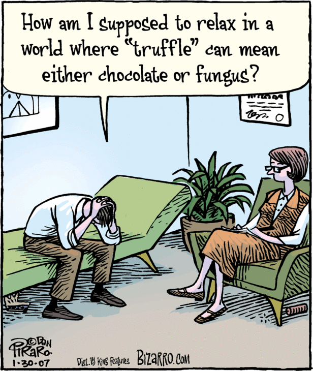 """drawing of man going to therapy because of the word """"truffle"""" having two meanings"""