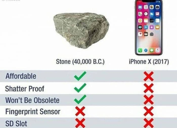 Checklist of a rock versus a smartphone, indicating that a rock has more benefits than the smartphone