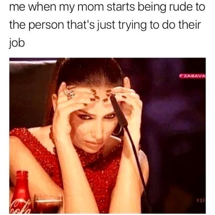 Funny meme about embarrassing mom.