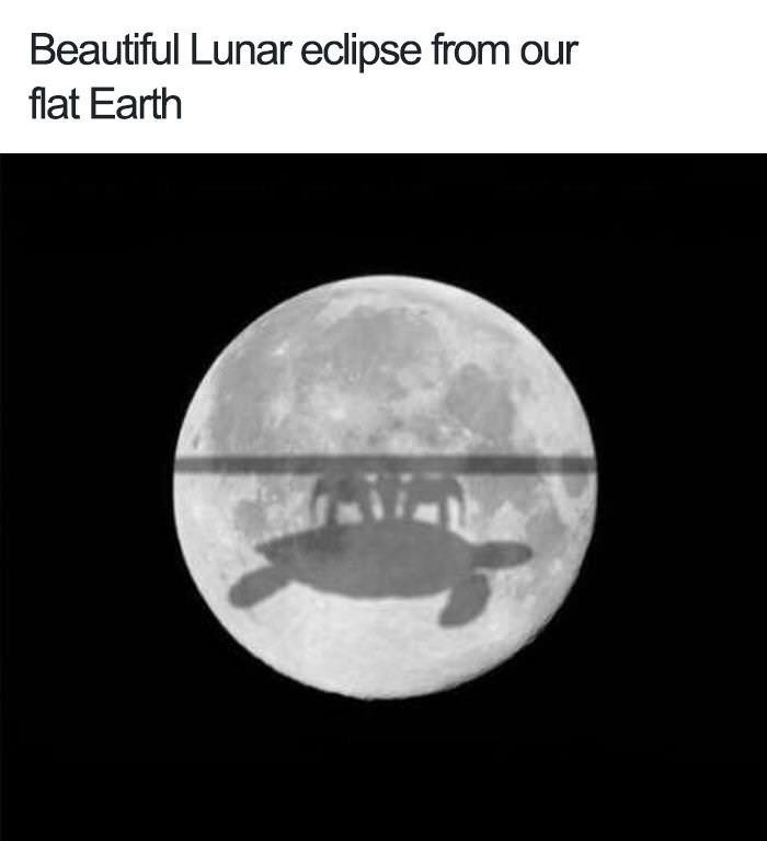 """Beautiful lunar eclipse from our flat earth"" with a moon and a shadow of a turtle holding up a table with four elephants"