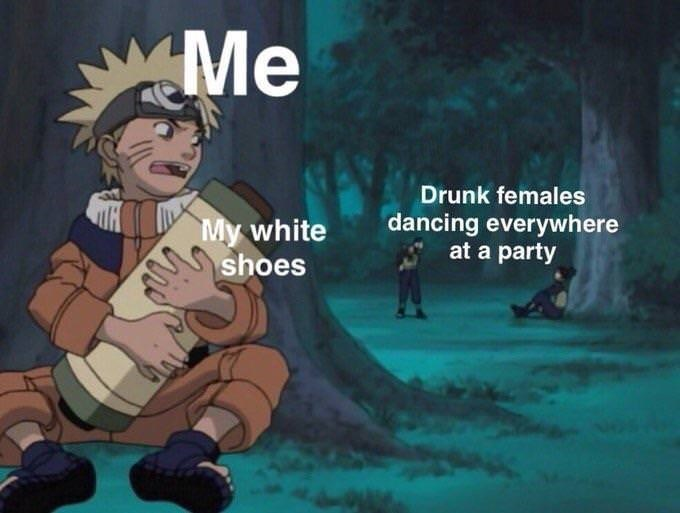 dank meme about wearing white shoes to a party
